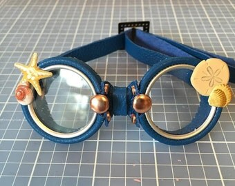 OOAK Blythe Blue Steampunk Goggles by Kaleidoscope Kustoms
