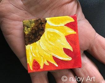 Sunflower Magnet - Original  - Hand Painted 2 inch canvas magnet