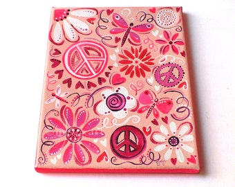Pink Peace, original 8x10 inch painting for girls room or baby nursery