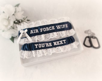 Air Force Wedding Garter Set - Military Garters - Air Force Wife Garter - You're Next Garter - Something Blue.