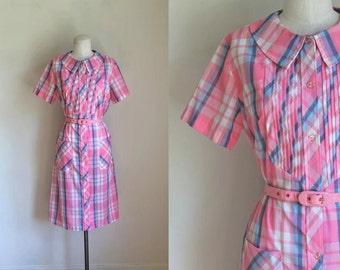 vintage 1960s shirt dress - TOP MADE pink plaid dress / L