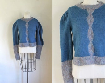 50% OFF...last call // vintage 1980s mohair sweater - DUSTY BLUE cable knit wool pullover /s/m