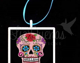 2x2 Ceramic Tile Ornament - Dia de Los Muertos-Day of the Dead Sugar Skull (SSO7) Ready to Ship