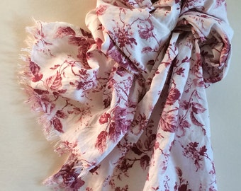 Linen scarf with roses, white pink wine red floral long natural linen women's summer scarf shawl with fringe