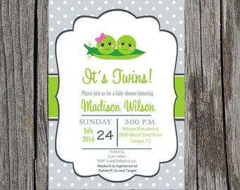 Printed twins baby shower invitation, twins baby shower, baby shower, peas in a pod, two peas baby shower