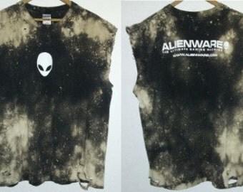 Alienware TShirt / 2 Sided / Muscle Tee / Alien / Graphic / Distressed / Indie / Grunge / Rock N Roll / Gamer / Unisex / Women / Men / Guys