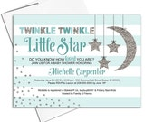 Twinkle Twinkle Little Star Baby Shower Invitations - Neutral Baby Shower Invite - Stripes - Baby Carriage - Printable or Printed - WLP00759