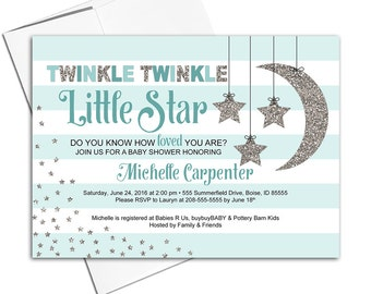 Twinkle Twinkle Little Star Baby Shower Invitations - Neutral Baby Shower Invite - Stripes - Baby Carriage - Printable or Printed - WLP00710