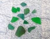 Irish sea glass pieces Green Seaglass Pieces Sea Tumbled Glass from Ireland