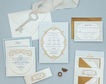 Dusty Blue French Baroque Wedding Invitations Deposit,Fleur de Lis Wedding Invitation,French Blue Wedding Invitations,Vintage Wedding Invite