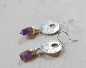 Amethyst Earrings, Aluminum Jewelry, Hammered Metal, Gift for Her