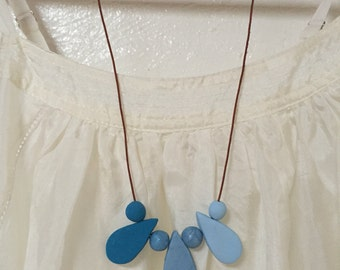 Polymer clay blue drop necklace