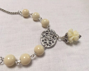 Cream Rose drop Necklace