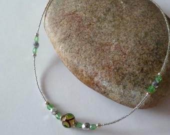 Murano Glass Bead Necklace, Venetian Glass Choker, Italian Glass, Beaded Jewelry