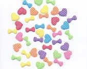 Gingham Sew On Appliques - Puffed Hearts and Bow Ties in Hot Pink, Bright Blue, Orange, Purple, Red, Sunny Yellow and Lime Green