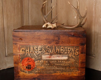 Antique Coffee Crate, Chase & Sanborn's Storage Box, Company, Large Vintage Crate, Primitive Wood Box, Home and Living, Antique End Table