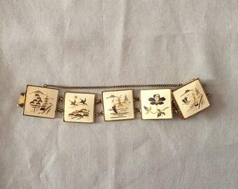 1930s charm link bracelet | japanese inlay artwork bracelet