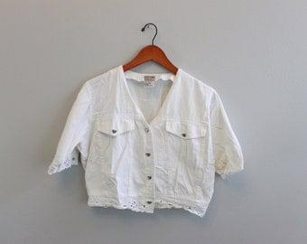 Vintage 90s White Crop Denim Heart Button down Short Sleeve shirt by Stefano