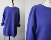 Vintage Violet Angora Lambswool Sweater Ultra Soft Purple Oversized Slouchy L
