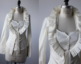 Vintage Dramatic White Blouse with Elizabethan Inspired Pleated Collar Ruff Avant Garde XS