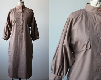 Vintage 80s Taupe Trench Coat Dress Avant Garde Boxy Cotton M