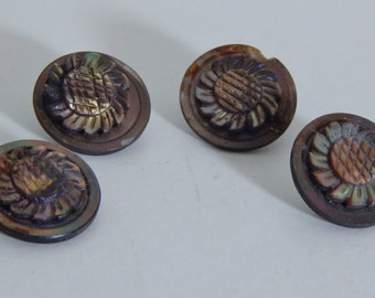 Antique Buttons Mother of Pearl Carved Sunflower Buttons Metal Loop Shank MOP Buttons Vintage Buttons Victorian Buttons