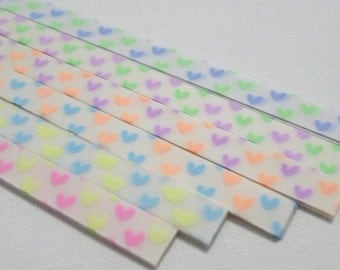 Forever Love (Twin Hearts) - Two Tone Glow in the Dark Vellum Origami Lucky Star Paper Strips - complete set of 6 for the price of 5