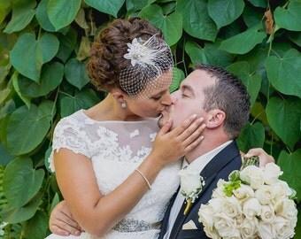 PETAL VEIL Gorgeous Bridal Bride Birdcage Veil Russian Blusher Veiling 3 Three Petals for Soft Romantic Unique Wedding Look Ivory White