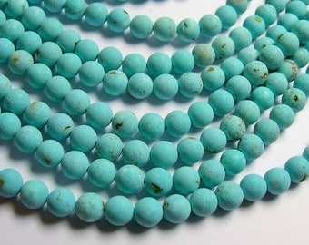 Howlite turquoise matte -  8mm beads -  full strand -  48 pcs - A Quality - RFG846
