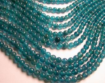 Jade - 6 mm round beads -1 full strand - 61 beads -  Color jade - dark aqua Jade - JDC12