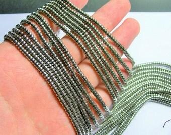 Hematite silver - 3mm heishi - full strand - 215 beads - AA quality - 3mmx2mm - PHG231