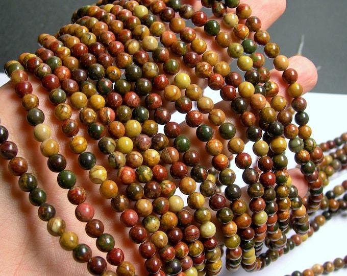 Red creek jasper - 6 mm - 67 beads - full strand - A quality - Picasso jasper - RFG761