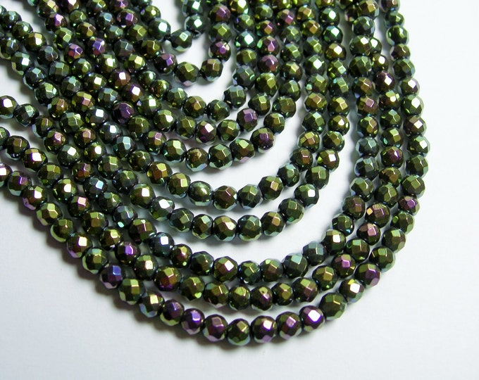 Hematite mystic forest green - 4 mm faceted round beads - full strand - 103 beads - AA quality - dual tone - PHG220