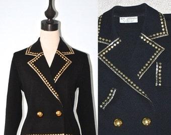40% OFF SALE Vintage St. JOHN Evening Dress Jacket . Glitzy 80s 90s Bling Gold Silver Beaded Black Knit Blazer . Party Glamour . Sz 4 Sz Sma