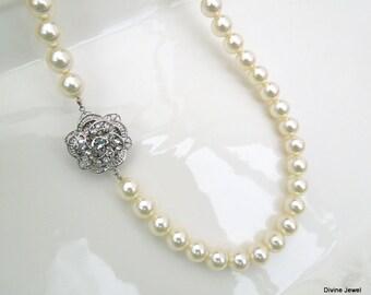 Bridal Pearl Necklace, Ivory Swarovski Pearls,Pearl Bridal Necklace,Pearl Rhinestone Necklace,Statement Bridal Necklace,Rose, ROSELANI