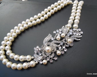Pearl Necklace Bridal Wedding Necklace Bridal Rhinestone Necklace Wedding Pearl Necklace Statement Bridal Necklace Rhinestone Necklace ROSSE