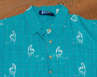 Wrangler Blues Horse Button Up Blouse, Western Cowgirl Shirt, Vintage 80s