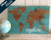 Travel Nursery Wall Art- Oh the Places You'll Go - Explore - World Map - Wooden Nursery Map - Travel Themed Decor - Boys Room Decor - Travel