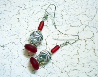 Red Sea Glass and Seashell Earrings (2758)