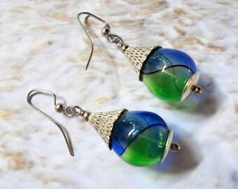 Blue, Green and Silver Hollow Glass Teardrop Earrings (3119)
