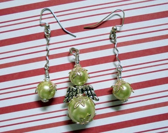 Light Green Pearl Angel Pendant and Earrings (0657)