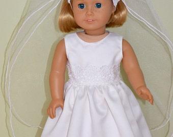 American Girl Doll Clothes -  American Girl Doll Wedding Dress and Veil, Doll Communion