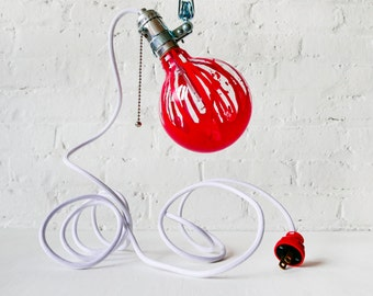Industrial Clip Clamp Light - Hand Painted Red Globe Bulb - White Textile Cord - Netflix and Chill