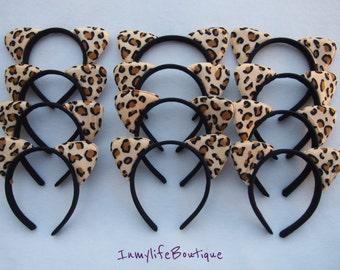 Lot of 12 All Leopard Brown & Black Cat Ears Headband Costume Halloween Kitty