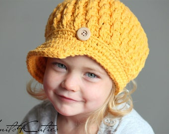 Newsboy hat for girl, newsgirl crochet hat, gold color, crochet newsgirl hat