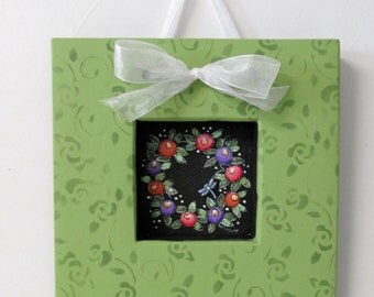 Spring Time Flower Wreath, Hand or Tole Painted, Framed in Greens, White Organza Ribbon Bow, Bumble Bee or Dragonfly, Reclaimed Wood Frame