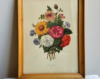 Vintage Floral Botanical Lithograph by J. L. Prevost, Framed Flowers Wall Art Print in Blonde Wood Frame, Bohemian Mid Century