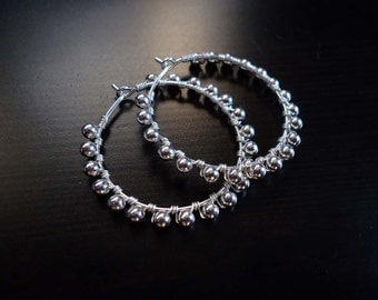 Sterling Silver Hoops, Wire Wrapped, Beaded Hoops
