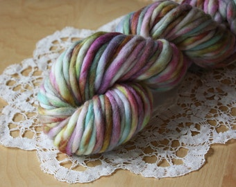 Hand Dyed Yarn / Super Bulky / Berry Teal Gold Orchid Merino Wool Single Ply / Calypso