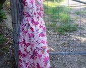 pink butterflies maxi , summery strapless dress, hippy, boho, large, xl